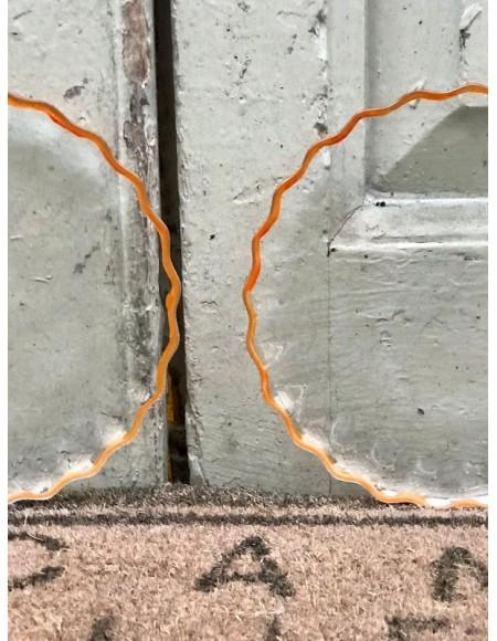 Platos de merienda/postre con borde naranja pintado a mano