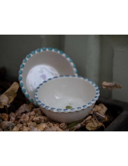 Cuencos de porcelana francesa pintada a mano