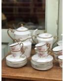Juego de desayuno, café y merienda de porcelana francesa marcado Dastugue