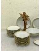 Vajilla de porcelana francesa blancos con filo de oro marcada Porcelaine de Sologne
