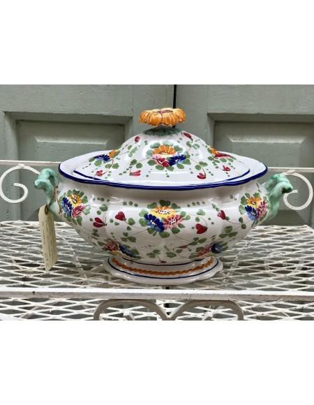 Sopera de loza italiana con decoración policroma floral y pomo girasol