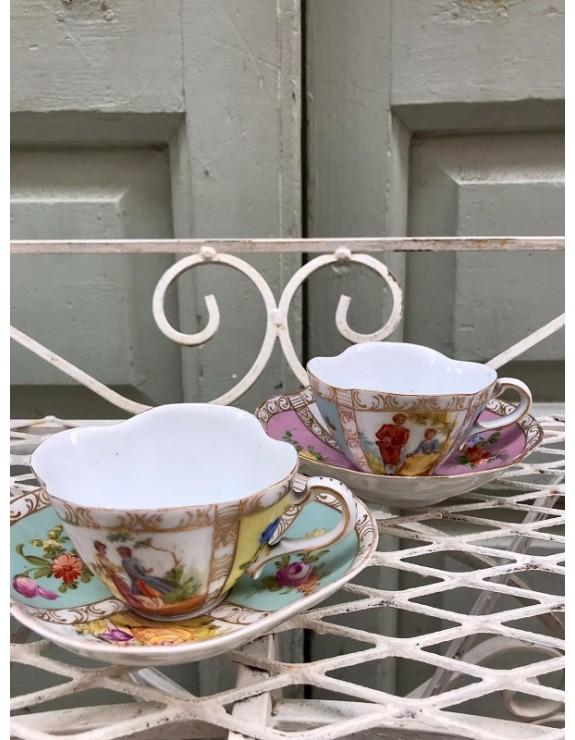 Tazas con su plato de porcelana alemana marcadas