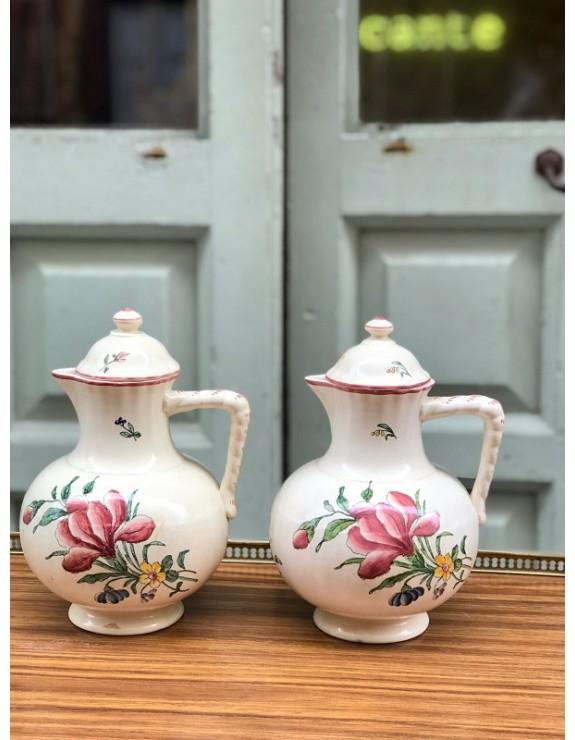 Cafeteras de loza fina francesas con decoración floral marcadas Alt Strassbourg