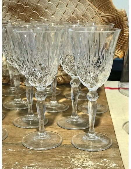 Copas de vino/agua de cristal francés tallado