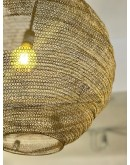 Lámpara de techo de red metálica dorada